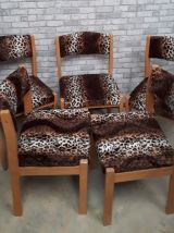 5 chaises BAUMANN  1970s  velours  panthere tres kitch    et