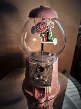 distributeur chewing gum vintage 70s, rose et moucheti or ,