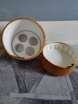 pouf coffre vintage avec tissu chiné laine orange