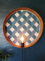 """Applique vintage, lampe murale  Tamis """"Bleu Losanges dorés"""""""