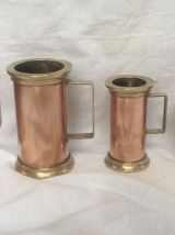 Lot de 5 mesures anciennes en cuivre et laiton
