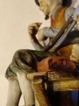 Objet de décoration chasseur vieil homme papy chien pipe fus