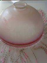 Suspension en verre gravé  style vintage avec perles couleur