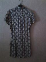 Longue tunique à manche courte motifs géométriques années 70