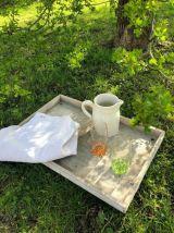 Clayette en bois, plateau de jardin