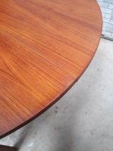 table  style scandinave  1960 a 75   plaquage teck  ronde 12