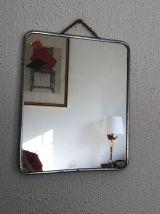 Miroir vintage 1960 barbier émeraude - 30 x 24 cm