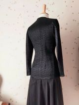 80s robe justaucorps stretch noir velours tulle S/L
