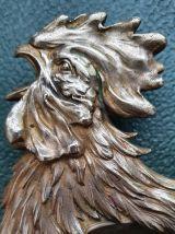 Ancien cendrier tête de coq en bronze Art Nouveau, signé E.L