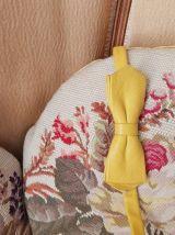 Vintage noeud papillon cuir moutarde