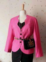 80s veste blazer rose vif XL