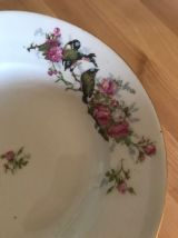 Assiettes creuses en porcelaine décor mésanges et roses