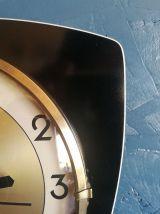 """Horloge vintage, pendule murale """"FFR noire dorée"""""""