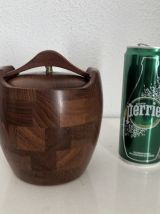 Pot à tabac vintage 1960 tabatière teck Danemark - 14 x 12 c