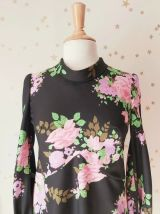 60s robe trapèze fleurie noir rose vert M