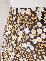 70s jupe midi fleurs noir jaune blanc XS/S