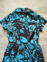 50s robe à fleurs brun turquoise S