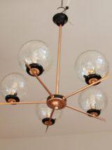 Lustre métal doré vintage globe verre craquelé 1930 art déco