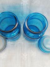 Trio de bocaux bleus