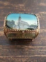 Boite à bijoux ancienne en verre et laiton Napoléon III