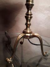 lampe tripode bronze doré , tulipe pate de verre orange et b