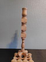 chandelier 3 feux en bois brut