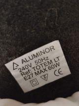 lampe pied acier laqué noir design et abat-jour imprimé