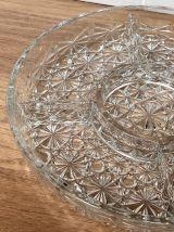 Plat à apéritif compartimenté en verre