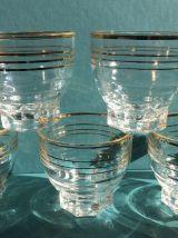 Lot de 5 verres à liseré doré vintage
