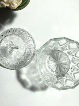 Sucrier, bonbonnière en verre de Reims transparent vintage