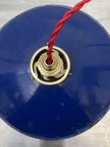 ANCIENNE SUSPENSION ÉMAILLÉE BLEUE 25 cm