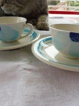 Service déjeuner Gien Fleur bleue vintage