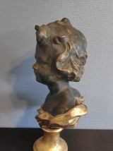 buste chérubin en plâtre noir et doré