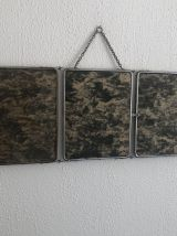 Miroir triptyque vintage 1950 barbier vert camouflage  - 28