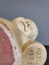 """buste """"la rieuse"""" d'après Jean-Baptiste Pigalle en plâtre"""