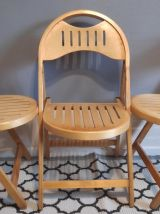 chaises pliantes bois verni estampillées OTK n°23