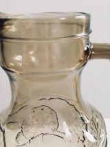 Grande et belle carafe en verre fumé Vintage