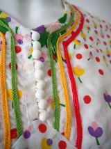 Mini robe prairie fleurie manches ballons vintage 60's