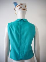 Petite blouse babydoll col Claudine turquoise pastel 60's