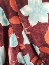 Peignoir vintage motif floral turquoise et camaieu de roses