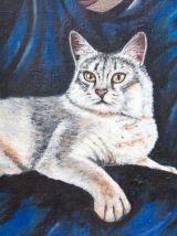 Peinture originale, pièce unique femme voilée et chat.