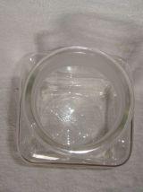 Ancien bocal carré pot à bonbons ou épicerie en verre H 24cm