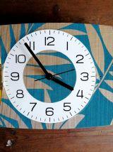 "Horloge vintage pendule murale silencieuse ""Bleu Doré"""