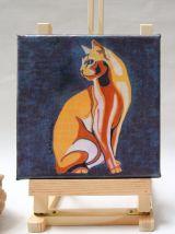 Tableau petit format peinture de chat abyssin stylisé.