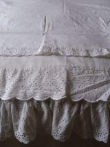 Parue de lit blanche broderie anglaise 3 pièces Vintage