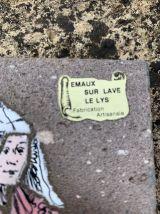 Emaux sur lave Le Lys Plaque décorative