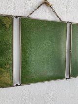 Miroir vintage 1930 triptyque barbier citron vert - 30 x 78