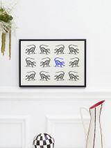 Gravure lithographie lémurien animal vintage
