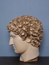 Tête grecque en plâtre grandeur nature