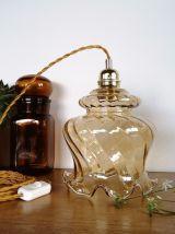 """Lampe Baladeuse vintage suspension en verre """"Ambre"""""""
